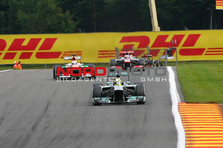 22.08 - 25.08.2013, Circuit de Spa, Francorchamps, BEL, F1, Grosser Preis von Belgien, im Bild  DHL Branding - Lewis Hamilton (GBR), Mercedes GP - Paul di Resta (GBR), Force India - Jenson Button (GBR),  McLaren F1 Team  <br />  Foto &copy; nph / Mathis