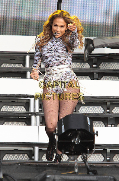 Jennifer Lopez <br /> performing at Barclaycard British Summertime, Hyde Park, London, England. <br /> 14th July 2013<br /> on stage in concert live gig performance music full length silver purple leotard tights dancing singing j-lo cane<br /> CAP/ROS<br /> &copy;Steve Ross/Capital Pictures
