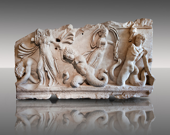 2nd Cent. AD Roman relief sculpture depicting Gigantomachy, the battle between the gods & the giants. From Aphrodisias (Geyne, Ayden), Turkey. Istanbul Archaeological Museum, Turkey, Inv. 1613T , Cat. Mendel 511.