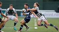 Ealing's Alex Walker makes the tackle during the Greene King IPA Championship match between Ealing Trailfinders and Bedford Blues at Castle Bar , West Ealing , England  on 29 October 2016. Photo by Carlton Myrie / PRiME Media