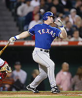 Hank Blalock of the Texas Rangers bats a 2002 MLB season game against the Los Angeles Angels at Angel Stadium, in Los Angeles, California. (Larry Goren/Four Seam Images)