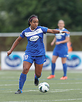 Boston Breakers midfielder Mariah Noguiera (20) brings the ball forward.  In a National Women's Soccer League Elite (NWSL) match, Sky Blue FC (white) defeated the Boston Breakers (blue), 3-2, at Dilboy Stadium on June 16, 2013.