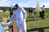 NFL Arizona Cardinals wide receiver Larry Fitzgerald grabs a snack at the 7th tee during Sunday's Final Round of the 2018 AT&amp;T Pebble Beach Pro-Am, held on Pebble Beach Golf Course, Monterey,  California, USA. 11th February 2018.<br /> Picture: Eoin Clarke | Golffile<br /> <br /> <br /> All photos usage must carry mandatory copyright credit (&copy; Golffile | Eoin Clarke)