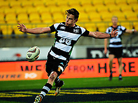 Brad Weber clears during the Mitre 10 Cup rugby union match between Wellington Lions and Hawkes Bay Magpies at Westpac Stadium, Wellington, New Zealand on Wednesday, 6 September 2017. Photo: Dave Lintott / lintottphoto.co.nz