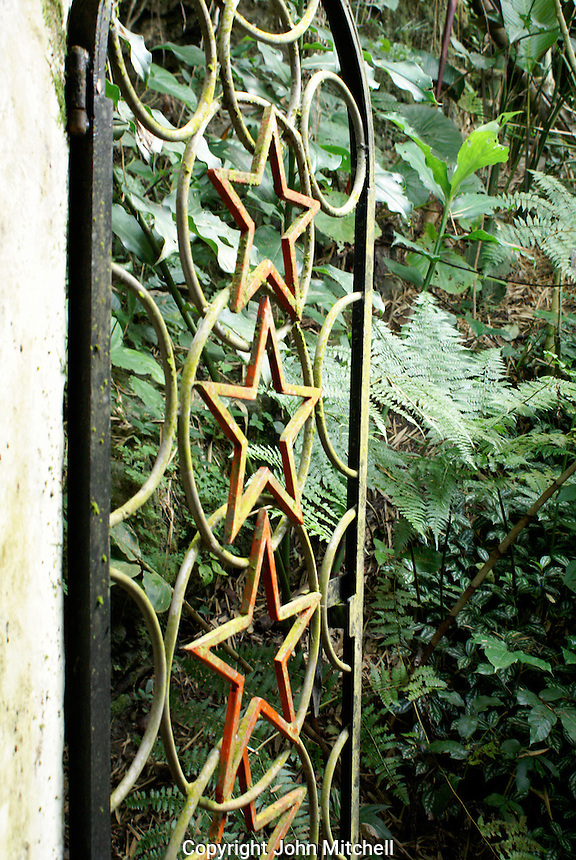 Iron gate at Las Pozas, the surrealistic sculpture garden created by Edward James  near Xilitla, Mexico