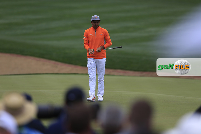 Rickie Fowler (USA) on the 3rd during the final round of the Waste Management Phoenix Open, TPC Scottsdale, Scottsdale, Arisona, USA. 03/02/2019.<br /> Picture Fran Caffrey / Golffile.ie<br /> <br /> All photo usage must carry mandatory copyright credit (&copy; Golffile | Fran Caffrey)
