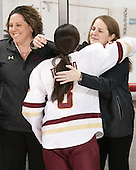 Courtney Kennedy (BC - Associate Head Coach), Dana Trivigno (BC - 8), Katie Crowley (BC - Head Coach) - The Boston College Eagles defeated the visiting Providence College Friars 7-1 on Friday, February 19, 2016, at Kelley Rink in Conte Forum in Boston, Massachusetts.