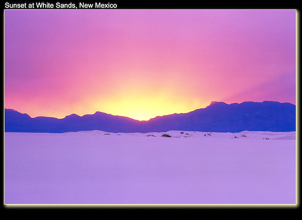 Sunset in White Sands National Monument, Alamogordo, New Mexico.<br /> Free of Photoshop intervention. .  John offers private photo tours in Arizona and and Colorado. Year-round.