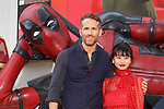 (L to R) Canadian actor Ryan Reynolds and Japanese actress Shiori Kutsuna, pose for the cameras during the Japan Premiere for their film Deadpool 2 on May 29, 2018, Tokyo, Japan. The second installment of the Marvel hit movie will be released in Japan onJune 1st. (Photo by Rodrigo Reyes Marin/AFLO)