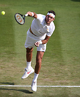 Juan Martin Del Potro (ARG) during his match against Feliciano Lopez (ESP)<br /> <br /> Photographer Rob Newell/CameraSport<br /> <br /> Wimbledon Lawn Tennis Championships - Day 4 - Thursday 5th July 2018 -  All England Lawn Tennis and Croquet Club - Wimbledon - London - England<br /> <br /> World Copyright &not;&copy; 2017 CameraSport. All rights reserved. 43 Linden Ave. Countesthorpe. Leicester. England. LE8 5PG - Tel: +44 (0) 116 277 4147 - admin@camerasport.com - www.camerasport.com