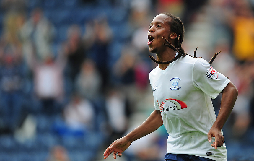 Preston North End's Daniel Johnson celebrates scoring his sides equalising goal to make the score 1-1<br /> <br /> Photographer Chris Vaughan/CameraSport<br /> <br /> Football - The Football League Sky Bet Championship - Preston North End v Ipswich Town - Saturday 22nd August 2015 - Deepdale - Preston<br /> <br /> &copy; CameraSport - 43 Linden Ave. Countesthorpe. Leicester. England. LE8 5PG - Tel: +44 (0) 116 277 4147 - admin@camerasport.com - www.camerasport.com