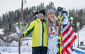 10th February 2019, Are, Sweden; Alpine skiing: Combination, ladies: downhill; Lindsey Vonn from the USA poses after the race with the former Swedish ski racer Ingemar Stenmark.