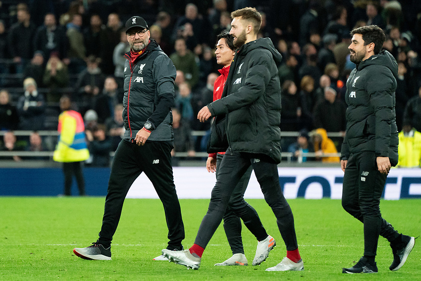 Liverpool manager Jurgen Klopp happy after his teams win<br /> <br /> Photographer Stephanie Meek/CameraSport<br /> <br /> The Premier League - Tottenham Hotspur v Liverpool - Saturday 11th January 2020 - Tottenham Hotspur Stadium - London<br /> <br /> World Copyright © 2020 CameraSport. All rights reserved. 43 Linden Ave. Countesthorpe. Leicester. England. LE8 5PG - Tel: +44 (0) 116 277 4147 - admin@camerasport.com - www.camerasport.com