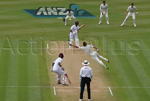 10th December 2017, Seddon Park, Hamilton, New Zealand; International Test Cricket, 2nd Test, Day 2, New Zealand versus West Indies;  Trent Boult takes a catch off his bowling to dismiss Hetmyer