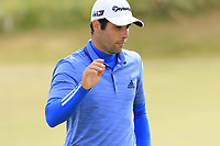 Adrian Otaegui (ESP) sinks his birdie putt on the 13th green during Thursday's Round 1 of the 2018 Dubai Duty Free Irish Open, held at Ballyliffin Golf Club, Ireland. 5th July 2018.<br /> Picture: Eoin Clarke | Golffile<br /> <br /> <br /> All photos usage must carry mandatory copyright credit (&copy; Golffile | Eoin Clarke)