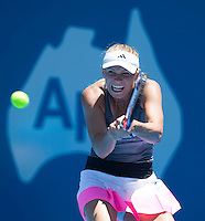 CAROLINE WOZNIACKI..Tennis - Apia Sydney International -  Sydney 2013 -  Olympic Park - Sydney - NSW - Australia. Sunday 6th January  2013. .© AMN Images, 30, Cleveland Street, London, W1T 4JD.Tel - +44 20 7907 6387.mfrey@advantagemedianet.com.www.amnimages.photoshelter.com.www.advantagemedianet.com.www.tennishead.net