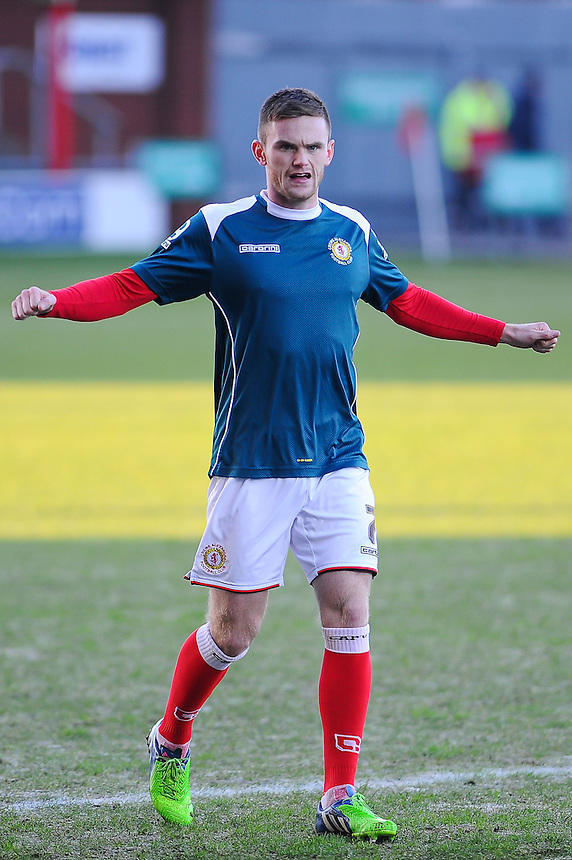 Crewe Alexandra's Oliver Turton during the pre-match warm-up <br /> <br /> Photographer Craig Thomas/CameraSport<br /> <br /> Football - The Football League Sky Bet League One - Crewe Alexandra v Preston North End - Sunday 28th December 2014 - Alexandra Stadium - Crewe<br /> <br /> &copy; CameraSport - 43 Linden Ave. Countesthorpe. Leicester. England. LE8 5PG - Tel: +44 (0) 116 277 4147 - admin@camerasport.com - www.camerasport.com