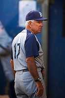 Brooklyn Cyclones pitching coach Dave LaRoche (17) during the first game of a doubleheader against the Connecticut Tigers on September 2, 2015 at Senator Thomas J. Dodd Memorial Stadium in Norwich, Connecticut.  Brooklyn defeated Connecticut 7-1.  (Mike Janes/Four Seam Images)