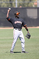 Wendell Fairley #23 of the San Francisco Giants plays in a minor league spring training game against the Chicago Cubs at the Cubs minor league complex on March 29, 2011  in Mesa, Arizona. .Photo by:  Bill Mitchell/Four Seam Images.
