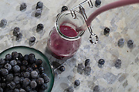 Schlehensaft wird mit einem Entsafter hergestellt, Dampfentsafter, Fruchtsaft, entsaften, Saft aus Schlehen. juice, fruit juice, juicer, juice extractor, juice separator, straining. Gewöhnliche Schlehe, Schwarzdorn, Früchte, Beeren, Prunus spinosa, Blackthorn, Sloe, fruit, Epine noire, Prunellier