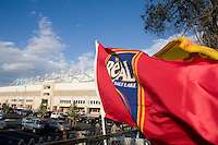 Real Salt Lake banners outside Rio Tinto Stadium prior to the Real Salt Lake vs New York Red Bulls 1-1 draw at Rio Tinto Stadium in Sandy, Utah. Photo by Eric Salsbery/isiphotos.com