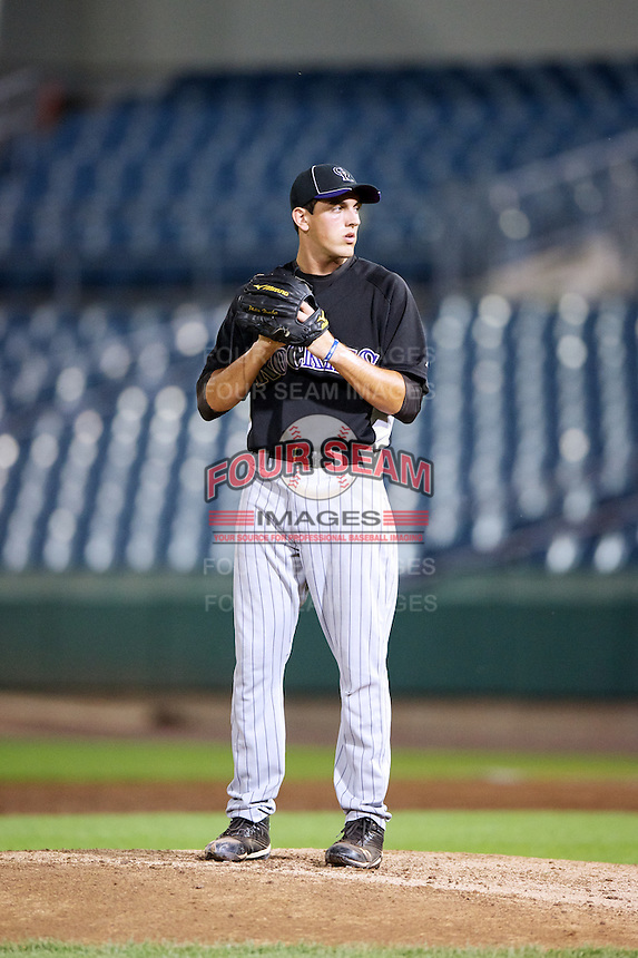 Brett Hanewich #22 of IMG Academies Pendleton in Bradenton, Florida playing for the Colorado Rockies scout team during the East Coast Pro Showcase at Alliance Bank Stadium on August 1, 2012 in Syracuse, New York.  (Mike Janes/Four Seam Images)