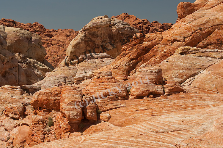 Orange white striped sandstone formations