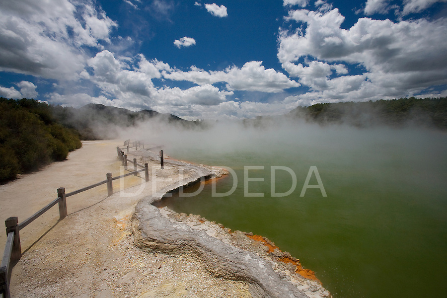 The brilliantly coloured Champagne Pool at the geothermal site, Wai-O-Tapu Thermal Wonderland, near Rotorua on the North Island of New Zealand.