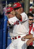 July 12, 2004:  Manager Luis Melendez of the Batavia Muckdogs, Short-Season Single-A affiliate of the Philadelphia Phillies, during a game at Dwyer Stadium in Batavia, NY.  Photo by:  Mike Janes/Four Seam Images