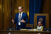 Pictured: Alun Wyn Jones (left) is awarded the freedom of Swansea from Lord Mayer Peter Black (right) at Swansea's Guildhall, Swansea, Wales, UK. Wednesday 12 June 2019<br /> Re: Ospreys, Wales and Lions star Alun Wyn Jones has been awarded the freedom of Swansea for his achievements in rugby during a ceremony at the Guildhall in Swansea, Wales, UK.<br /> He has 134 international caps to his name; three Grand Slam titles with Wales, and has toured with the British and Irish Lions on three separate occasions.