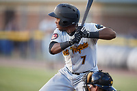 West Virginia Black Bears third baseman Melvin Jimenez (7) at bat during a game against the Batavia Muckdogs on June 20, 2018 at Dwyer Stadium in Batavia, New York.  West Virginia defeated Batavia 4-3.  (Mike Janes/Four Seam Images)