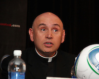 Rev. Mario Dorsonville at a press conference to announce a charity match between D.C. United and the national team of El Salvador on June 19, 2010. RFK Stadium, Washington DC, May 4 2010.