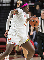 COLLEGE PARK, MD - FEBRUARY 03: Ashley Owusu #15 of Maryland in action during a game between Michigan State and Maryland at Xfinity Center on February 03, 2020 in College Park, Maryland.