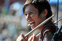 Drummer Kim Schifino from Brooklyn NY based Indie Pop duo Matt and Kim performs at the Pool Parties in McCarren Park, Bklyn NYC ( 07-14-08)