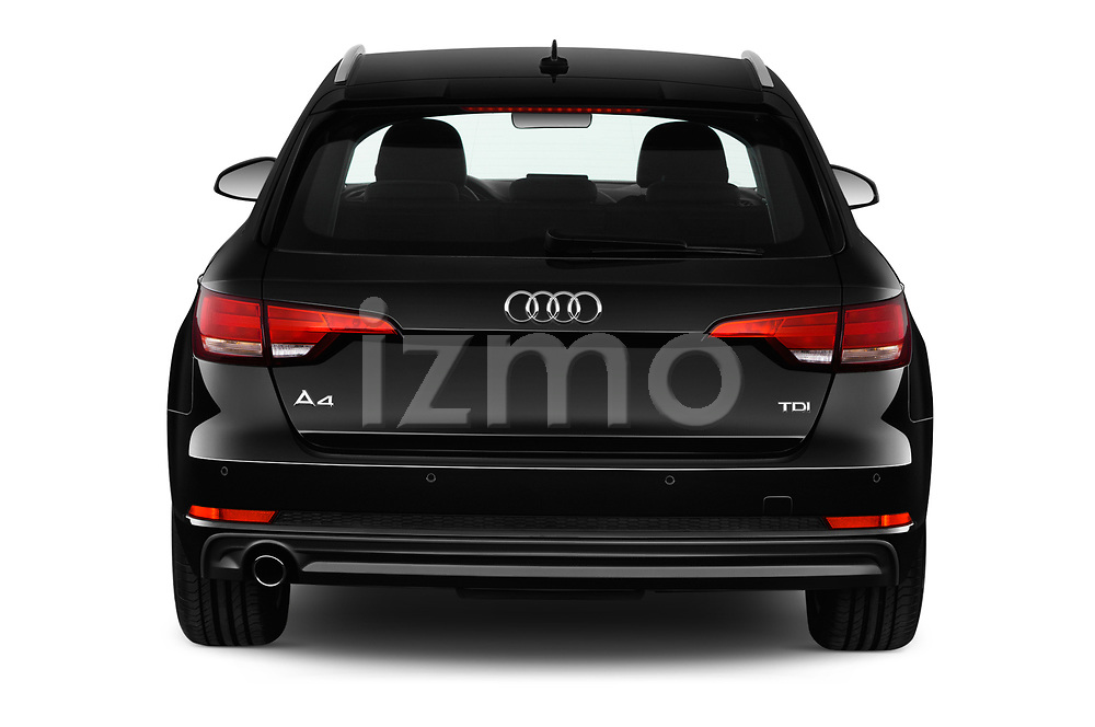 Straight rear view of a 2018 Audi A4 Avant Sport 5 Door Wagon stock images