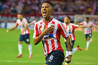 BARRANQUILLA- COLOMBIA, 25-11-2018: James Sánchez  jugador del Atlético Junior  celebra su gol contra el Rionegro durante partido de vuelta  por la semifinal de la Liga Águila II 2018 jugado en el estadio Metropolitano Roberto Meléndez de la ciudad de Barranquilla. / James Sanchez  player of Atletico Junior  celebrates his goal agaisnt of Rionegro during  second match for the semifinal of Liga Aguila II 2018 played at the Metropolitano Roberto Melendez Stadium in Barranquilla  city. Photo: VizzorImage / Alfonso Cervantes / Contribuidor