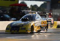Sep 13, 2013; Charlotte, NC, USA; NHRA funny car driver Jeff Arend during qualifying for the Carolina Nationals at zMax Dragway. Mandatory Credit: Mark J. Rebilas-