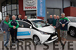 Pictured at Kellihers Toyota garage, Rathass, Tralee on Easter Saturday morning last, were members of Na Gaeil GAA club, Tralee launching their Golf Classic club fundraiser  which will take place at O' Mahony's point Golf club, Killarney on Friday May 31st and any golfer who gets a ' Hole in One ' will win a free Toyota car, L-R Colm O Suillabhain, Mícheál Herlihy, Tin Lynch, Donal Lucey, Pat O'Connor, Joe Clifford, Tim Kelliher and Troy O' Connell.