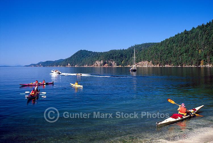 Galiano Island, Southern Gulf Islands, BC, British Columbia, Canada - Ocean Kayak Trip at Montague Harbour Provincial Marine Park, Summer