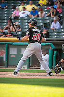 Matt McBride (20) of the Albuquerque Isotopes at bat against the Salt Lake Bees in Pacific Coast League action at Smith's Ballpark on June 8, 2015 in Salt Lake City, Utah.  (Stephen Smith/Four Seam Images)