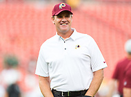 Landover, MD - August 16, 2018: Washington Redskins head coach Jay Gruden before preseason game between the New York Jets and Washington Redskins at FedEx Field in Landover, MD. (Photo by Phillip Peters/Media Images International)
