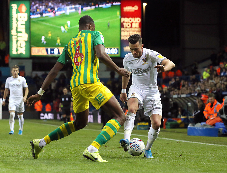 Leeds United's Jack Harrison under pressure from West Bromwich Albion's Semi Ajayi<br /> <br /> Photographer Rich Linley/CameraSport<br /> <br /> The EFL Sky Bet Championship - Tuesday 1st October 2019  - Leeds United v West Bromwich Albion - Elland Road - Leeds<br /> <br /> World Copyright © 2019 CameraSport. All rights reserved. 43 Linden Ave. Countesthorpe. Leicester. England. LE8 5PG - Tel: +44 (0) 116 277 4147 - admin@camerasport.com - www.camerasport.com