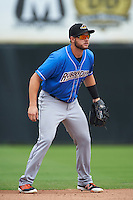 Akron RubberDucks second baseman Todd Hankins (8) during the first game of a doubleheader against the Bowie Baysox on June 5, 2016 at Prince George's Stadium in Bowie, Maryland.  Bowie defeated Akron 6-0.  (Mike Janes/Four Seam Images)