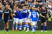 1st October 2017, Hillsborough, Sheffield, England; EFL Championship football, Sheffield Wednesday versus Leeds United; Gary Hooper of Sheffield Wednesday celebrates his goal in the 25th minute to make it 1-0