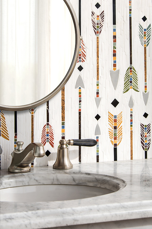 "Arrow Rows, a hand-cut stone mosaic, shown in tumbled Dolomite and polished Xanadu, Red Travertine, Chartreuse, Kay's Green, Blue Macauba, and Nero Marquina, is part of Cean Irminger's second KIDDO Collection, ""KIDDO: Wunderkammer® Edition"" for New Ravenna."