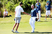Mark Hutson of North Harbour shakes hands with Johnny Tynan of Auckland after winning their finals match. Day Four of the Toro Interprovincial Men's Championship, Mangawhai Golf Course, Mangawhai,  New Zealand. Saturday 9 December 2017. Photo: Simon Watts/www.bwmedia.co.nz