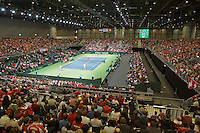 Switserland, Genève, September 19, 2015, Tennis,   Davis Cup, Switserland-Netherlands, Doubles: Overall vieuw<br /> Photo: Tennisimages/Henk Koster
