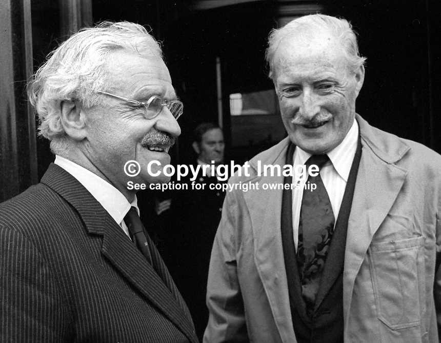 Lord Rochdale, outgoing chairman, Harland &amp; Wolff shipyard, Belfast, N Ireland, left, briefs his successor, Sir Brian Morton, during a tour of the shipbuilding complex. 4th November 1975. 197511040713LR2<br /> <br /> Copyright Image from Victor Patterson, 54 Dorchester Park, Belfast, UK, BT9 6RJ<br /> <br /> t: +44 28 90661296<br /> m: +44 7802 353836<br /> vm: +44 20 88167153<br /> e1: victorpatterson@me.com<br /> e2: victorpatterson@gmail.com<br /> <br /> For my Terms and Conditions of Use go to www.victorpatterson.com