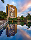 October 12, 2018; Hesburgh Library and reflecting pool at sunrise (Photo by Matt Cashore)