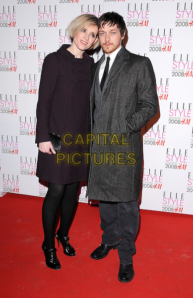 ANNE-MARIE DUFF & JAMES McAVOY.Attending the Elle Style Awards 2008, The Westway, London, England..February 12th, 2008.full length Anne Marie Ann married couple husband wife grey gray coat hand in pocket aubergine purple coat.CAP/BEL.©Tom Belcher/Capital Pictures.